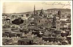 Postcard Cairo Kairo Ägypten, Blick auf die Mamelukengräber, Minarett, Moschee