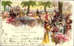 Litho Nice Nizza Alpes Maritimes, Carnaval, Bataille des Fleurs