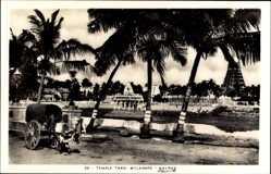Postcard Chennai Madras Indien, Temple Tank. Mylapore, Rinderfuhrwerk