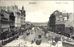 Postcard Budapest Ungarn, Blick auf den Karlsring, Straßenbahnen, Kutsche