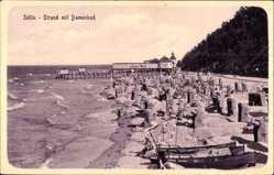 Ak Ostseebad Sellin auf Rügen, Strand mit Damenbad