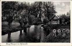 Postcard Burg Kaupen im Spreewald, Kurhaus von J.H. Müller, Frauen in Tracht