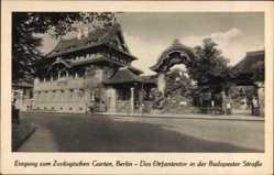 Postcard Berlin Tiergarten, Eingang zum Zoologischen Garten, Budapester Straße