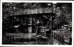 Postcard Lehde Lübbenau im Spreewald, Flusspartie mit Brücke