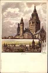 Künstler Litho Biese, C., Mainz Rheinland Pfalz, Der Dom, Wohnhäuser, Rhein