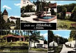 Postcard Michelbach in Baden, kleiner Brunnen, Anlage, Waldhütte, Zeltlager