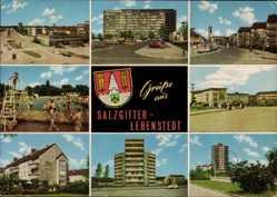 Postcard Lebenstedt Salzgitter in Niedersachsen, Plattenbau, Spielplatz, Wappen