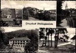 Postcard Oerlinghausen im Kreis Lippe, Windmühlenturm, Göddernstraße, Segelflugplatz