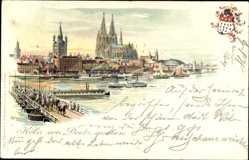 Litho Köln am Rhein , Dom, Brücke, Rhein, Dampfer, Blick von Deutz aus