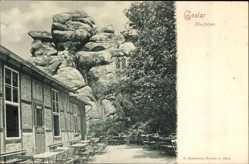 Postcard Goslar in Niedersachsen, Restaurant am Klusfelsen