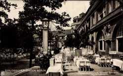 Postcard Berlin Tiergarten, Zoologischer Garten, Hauptrestaurant, Terrasse, NPG