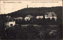 Postcard Bad Freienwalde an der Oder, Blick von dem Aussichtsturm, Kriegerdenkmal