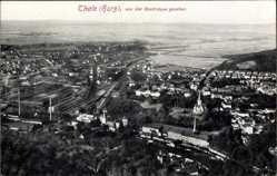 Postcard Thale im Harz, Ortschaft von der Rosstrappe gesehen