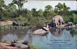 Postcard Hamburg Eimsbüttel Stellingen, Hagenbecks Tierpark, Nachbildung,Ochsensaurier