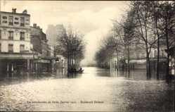 Postcard Paris Frankreich, Les Inondations de Paris, Boulevard Diderot, 1910