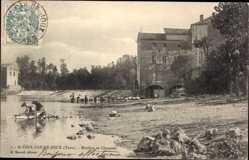Ak Saint Paul Cap de Joux Tarn, Moulins et Chaussée, Waschfrauen