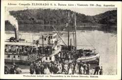 Postcard Eldorado Argentinien, Wöchentliche Ankunft von Neuansiedlern in der Kolonie