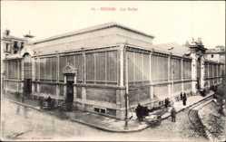 Postcard Béziers Hérault, Les Halles, Markthallen, Straßenecke