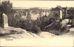 Postcard Vesteras Schweden, Teilansicht der Stadt, Grenzstein