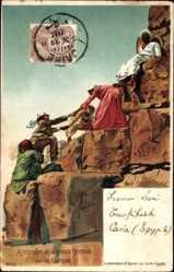 Künstler Ak Franke, Ägypten, Ascension de la grande Pyramide, Touristen