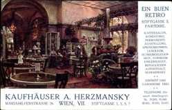 Künstler Ak Wien 7. Neubau, Stiftgasse, Mariahilferstraße, Kaufhäuser Herzmansky