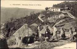Postcard Tizi Ouzou Algerien, Habitations Kabyles sur le Béloua, Strohhütten, Algerier