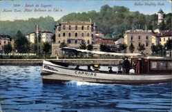 Postcard Lugano Kt Tessin Schweiz,Nuovo Quai,Hotel Bellevue au Lac,Roller Skating Rink