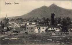 Postcard Prilep Mazedonien, Totalansicht der Ortschaft, Feld, Berg, Gebäude