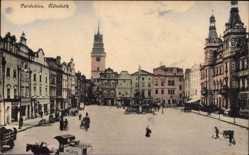 Postcard Pardubice Pardubitz Stadt, Namestie, Marktplatz, Passanten, Milchlieferung