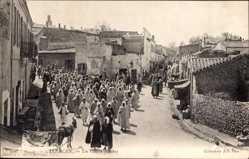 Postcard Tlemcen Algerien, Un Convoi funèbre, Trauergesellschaft, Begräbnis