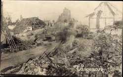 Foto Ak Langemark Poelkapelle Westflandern, Kriegszerstörungen, Ruinen
