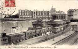 Postcard Saint Germain en Laye Yvelines, Interieur de la Gare et le Chateau