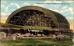 Postcard Salt Lake City Utah USA, Construction of Tabernacle Roof, Mormonen