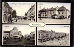 Postcard Prostějov Proßnitz in Mähren Reg. Olmütz, Zamek, Namestie, Bivadle