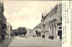 Postcard Bad Hall Oberösterreich, Promenade mit Blick auf Hotel Budapest