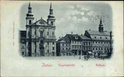 Mondschein Ak Jihlava Iglau Region Hochland, Jesuitenkirche, Rathaus