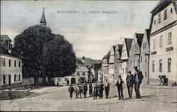 Postcard Ronsperg Reg. Pilsen, Oberer Ringplatz, Kinder, Kirchturm, Häuser