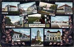 Postcard Topoľčany Topoltschan Slowakei, Stanicz, Vasar, Kostol, Post