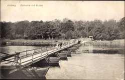 Postcard Kołobrzeg Kolberg Pommern, Maikuhle mit Schiffsbrücke, Flusspartie