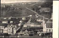 Postcard Jáchimov St. Joachimsthal Region Karlsbad, Blick auf den Ort, Kirche