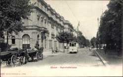 Postcard Zürich Stadt Schweiz, Bahnhofstraße, Straßenbahn, Kutschen, Gebäude