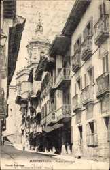 Postcard Fuenterrabia Baskenland, Puerta principal, Straßenpartie, Fassade
