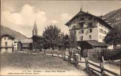 Postcard Evolene Kt. Wallis, Hôtel Dent Blanche, Partie im Dorf, Kirchturm
