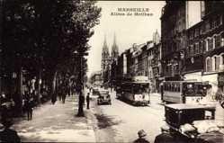 Postcard Marseille Bouches du Rhône, Allées de Meilhan, Straßenbahnen