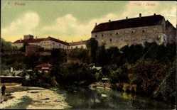 Postcard Brtnice Pirnitz Reg. Hochland, Partie am Fluss mit Burg