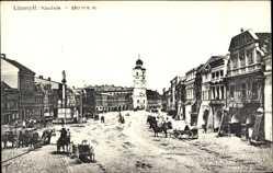 Postcard Litomysl Pardubický kraj, Straßenpartie mit Blick zur Kirche