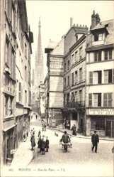 Ak Rouen Seine Maritime, Rue du Parc, Straßenpartie, Kirchturm