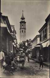 Foto Ak Tunis Tunesien, Straßenpartie, Lastenesel, Minarett