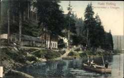 Postcard Karlovy Vary Karlsbad Stadt, Hans Helling, Ruderboot