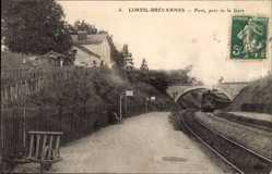 Postcard Limeil Brévannes Val de Marne, Pont, près de la Gare, Bahnhof, Zugeinfahrt